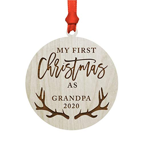 Price comparison product image Andaz Press Custom Year Family Laser Engraved Wood Christmas Ornament,  My First Christmas As Grandpa 2020,  Deer Antlers,  1-Pack