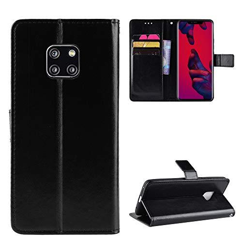 QiongniAN Funda para Huawei Mate 20 Pro,Funda para Huawei Mate 20 Pro LYA-AL00 LYA-TL00 LYA-AL10 LYA-L09 LYA-LX9 LYA-L29 LYA-L0C Funda Cartera de Cuero con Solapa Case Black