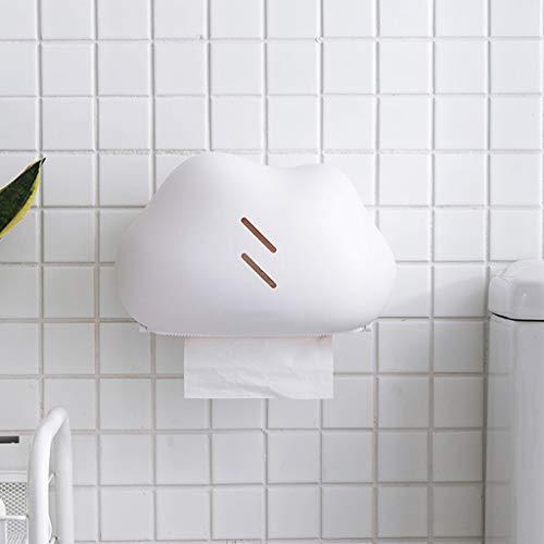 NPZ * Toilettenpapierkasten, Badezimmer Wand Creative Cloud Art Freies Stanzen Wasserdichtes Papiertuch-Aufbewahrungsbehälter, 2 Farben Optional Toilettenpapierhalter (Color : White)