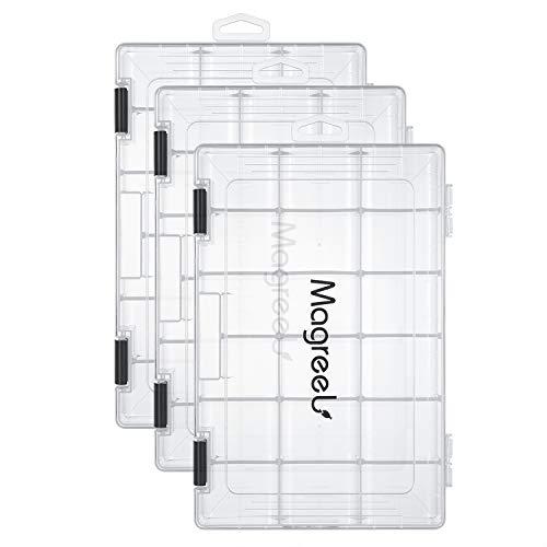 Magreel Angelkasten, 3 Stück transparente wasserdichte Kunststoffbox Aufbewahrungsbox Organizer Gitterbox für Schmuck Perlen Container Werkzeug Angelhaken kleines Zubehör 18 Gitter