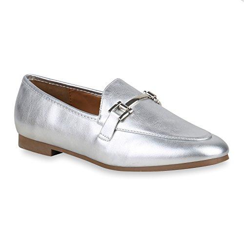 stiefelparadies Damen Slippers Metallic Loafers Ketten Slip Ons Freizeit Schuhe 157305 Silber 39 Flandell