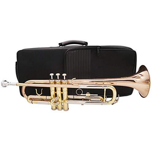 LVSSY-Trompeta Profesional Latón BB,Estudiante Principiante con Estuche Duro Guantes 7C Boquilla Y Kit de Limpieza de Trompeta (Cobre de Fósforo)