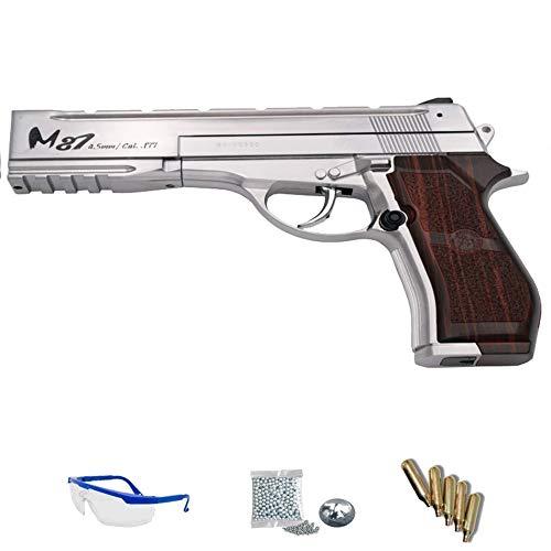 WG M87 Sport 301L Plata - Pack Pistola de Aire comprimido (CO2) y balines de Acero (perdigones BBS) Calibre 4.5mm. Réplica Tipo Beretta M87 <3,5J
