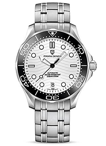 Pagani Design Seamaster Moda Hombres Relojes Automáticos Buceo 100M Hombres Relojes de pulsera mecánicos NH35A Movimiento Casual Wave Dial Hombres Reloj Deportivo