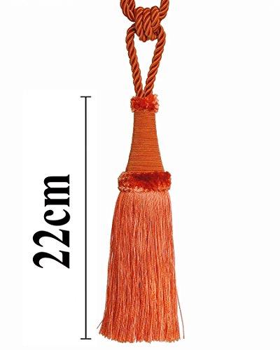 Raffhalter 65 cm / Quaste 22 cm mit Kordel Farbe Orange Schmuckquaste Gardinen Vorhang Gardinenhalter Quaste Halter für Gardinen Barock Jugendstil