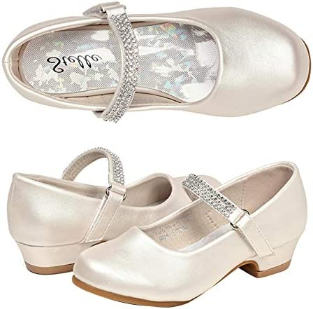 STELLE Girls Mary Jane Shoes Low Heel Party Dress Shoes for Kids 3ML T02 Champagne product image