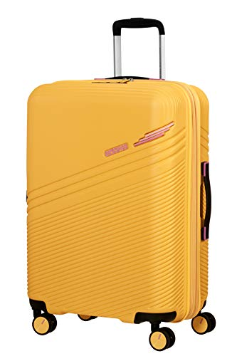 American Tourister Triple Trace Spinner M Expandable Case, 67 cm, 69.5/79.5 L, Yellow (Lemondrop/Pink)