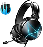 Auriculares Gaming, PeohZarr Auriculares Gaming PS4 PS5 Estéreo con Micrófono Cascos Gaming 3.5mm Jack con Luz LED Bass Surround y Cancelación de Ruido Auriculares Compatible con PC/Xbox One/Nintendo