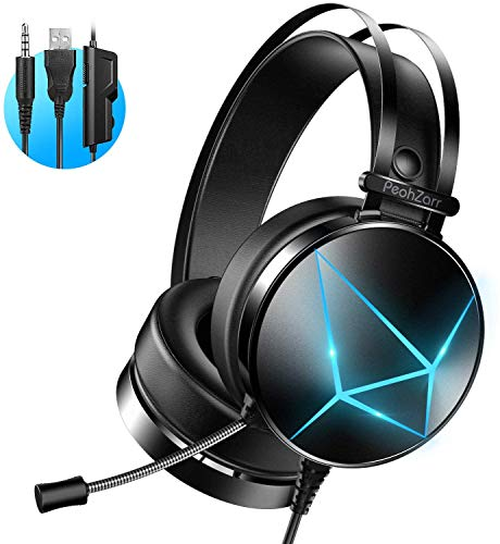Gaming Headset with 7.1 Surround Sound PC Headset with Mic & Light, Over Ear Headphones for One Controller, PS4, Nintendo Switch, PS2