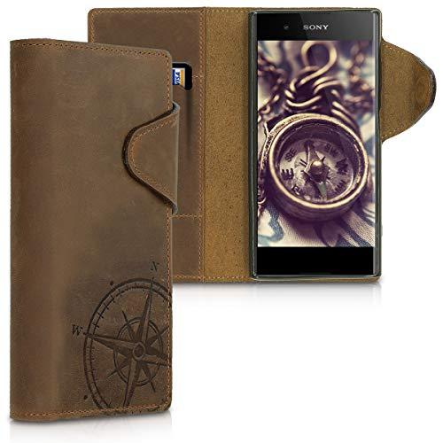 kalibri Hülle kompatibel mit Sony Xperia XA1 Plus - Leder Handyhülle - Handy Wallet Hülle Cover Kompass Vintage Braun