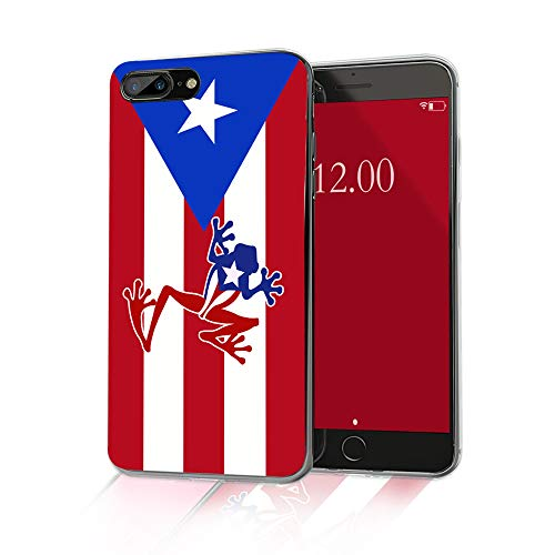 Cocomong Puerto Rico Flag Phone Case Compatible with iPhone 8 Plus Case Puerto Rico Flag iPhone 7 Plus Case for Men Boys Girls Women, Slim Soft TPU Cover Clear Protective Shockproof 5.5'