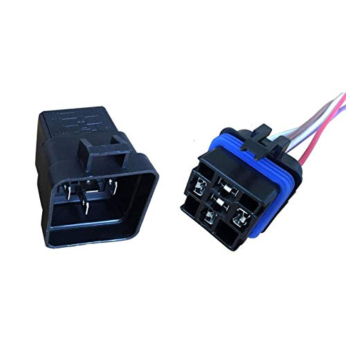 A-Team Performance Automotive Change-Over Relay 5-Pin Terminal Waterproof General Purpose 12 Volt 40 Amp and 12-Inch Connector Pigtail Set Sealed Unit