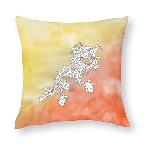 Bhutan-Flaggen-Kissenbezug, quadratisch, dekorativer Kissenbezug für Sofa, Couch, Zuhause, Schlafzimmer, drinnen & draußen, niedlicher Kissenbezug 45,7 x 45,7 cm