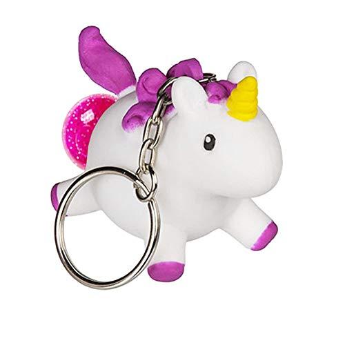 OOTB Llavero de Unicornio Que Hace Caca Rosa con Brillo en el Interior. Juguete antiestrés. Exprimir Caca Animal, Llavero.