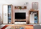 Möbel Jack Wohnwand Anbauwand Wohnzimmerschrank 4-TLG.   Dekor   Wildeiche   Weiß   LED-Beleuchtung