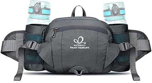 Waterfly Riñonera Running Deportiva Impermeable Multifuncional Bolso de Cintura con Portabotellas para Correr Senderismo Ciclismo para Hombre Mujer (Gris)