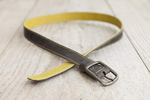 grauer Ledergürtel, Wendegürtel, Gürtel aus echtem Leder, unisex, handgefertigt in Bayern