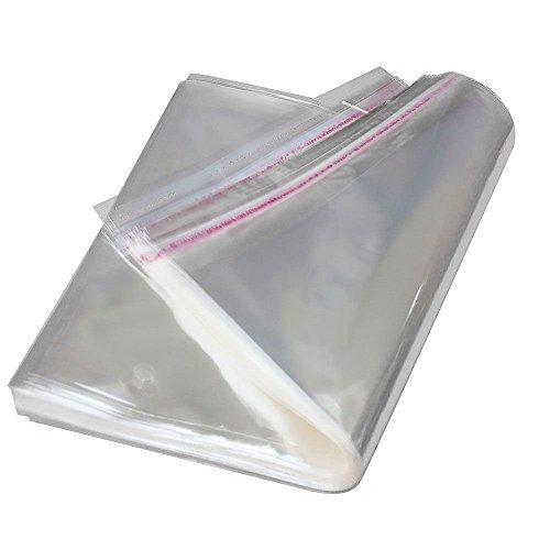 AlphaAcc, 100 bustine per spedizioni, autosigillanti con nastro adesivo, trasparenti, in polipropilene orientato,dimensioni 22,9x 30,5cm, compatibili con formatto A4