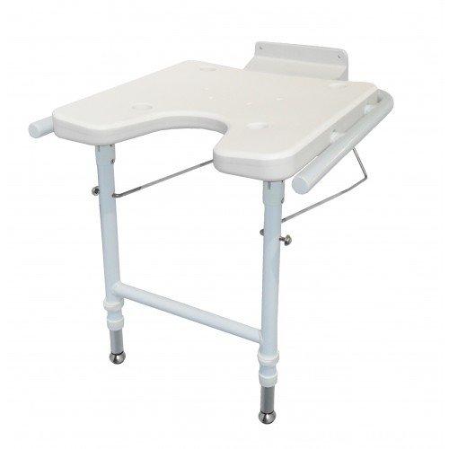 Duschklappsitz *DUS* mit STÜTZBEIN Sicherheitssitz Wandstuhl Klappstuhl Duschhilfe Sitzhilfe zur Wandmontage, weiß
