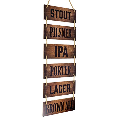 Excello Global Products Large Hanging Wall Sign: Rustic Wooden Decor (Stout, Pilsner, IPA, Porter, Lager, Brown Ale) Hanging Light Wood Wall Decoration (11.75' x 32')