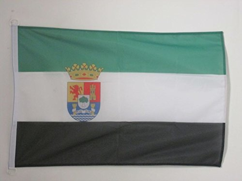 AZ FLAG Bandera Nautica de Extremadura 45x30cm - Pabellón de conveniencia EXTREMEÑA 30 x 45 cm Anillos