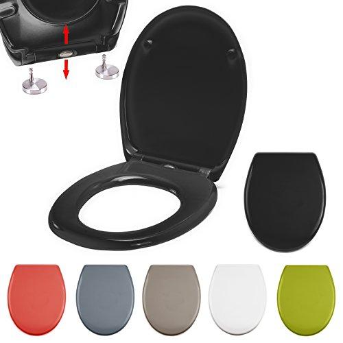 MSV WC Sitz Toilettendeckel Duroplast mit Absenkautomatik und auf Knopfdruck abnehmbar zur Reinigung in Schwarz – Easy Fix Clip System
