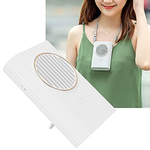 FECAMOS Ventilador portátil, Ventilador de Cuello Portátil silencioso con Carga USB para Oficina para el hogar para Deportes al Aire Libre(White, Pisa Leaning Tower Type)