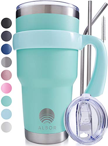 ALBOR Triple Insulated Stainless Steel Tumbler 30 oz Seafoam Coffee Travel Mug With Handle