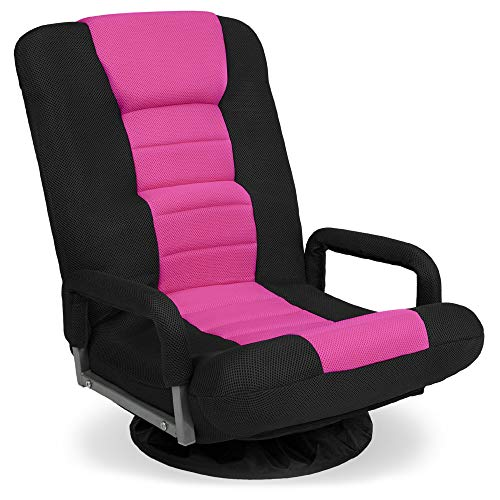 Best Choice Products Multipurpose 360-Degree Swivel Gaming Floor Chair for TV, Reading, Playing w/Lumbar Support, Armrest Handles, Foldable Adjustable Backrest, Machine Washable - Pink/Black