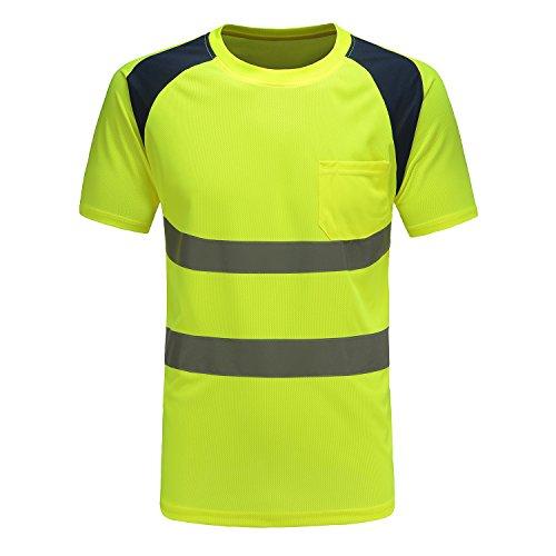 Profi Warnschutz T-Shirt Kurzarm Arbeitsshirt Kurzarmshirt Warnshirt Arbeitshemd Warnschutz t Shirt Herren (Gelb, XS)