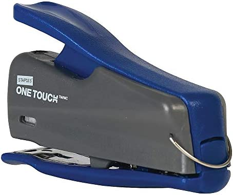 Staples 1828108 One Touch Mini Stapler Quarter Strip Capacity Gray Blue 44427 CC product image