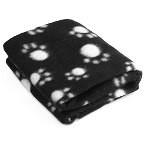 LuckyStone Warm Dog Cat Puppy Kitten Fleece Blankets Sleep Mat Pad Bed Cover with Paw Print Cushion Soft Pet Blanket for Small Animals (Black)