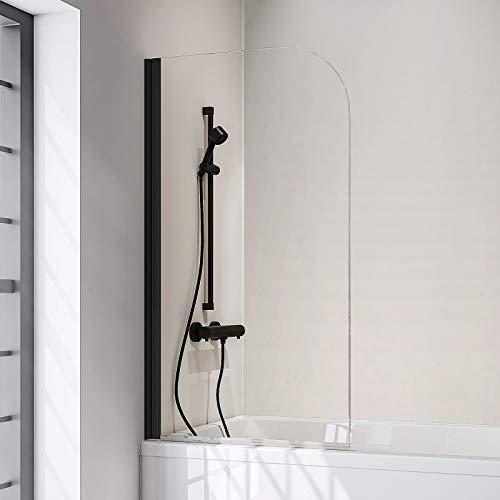 Schulte Duschwand Black Style, 80 x 140 cm, 5 mm Sicherheits-Glas klar, schwarz-matt, Duschabtrennung für Badewanne