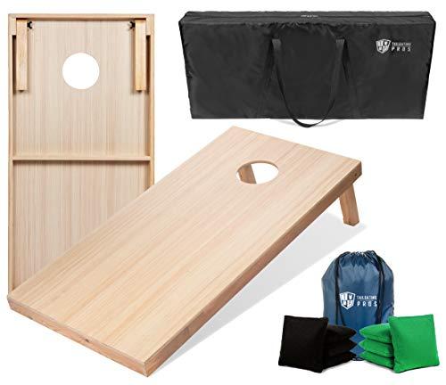 Tailgating Pros 4'x2' & 3'x2' Premium Woodgrain Cornhole Game w/Carrying Case & Set of 8 Corn Hole Bags - 150+ Color Combos! Optional LED Lights