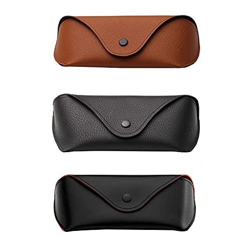 FACHA Funda unisex de piel sintética para gafas de sol, con hebilla de metal, color 3 unidades, tamaño: 16 x 5,5 x 3,5 cm