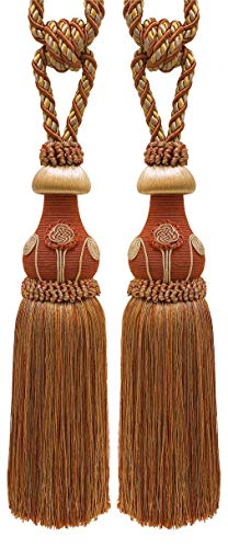 Pair of Decorative RUST GOLD Curtain & Drapery Tassel Tieback /30cm tassel, 81cm Spread (embrace), 11mm Cord, Baroque Collection Style# TBBL-1 Color: Cinnamon Toast 6122