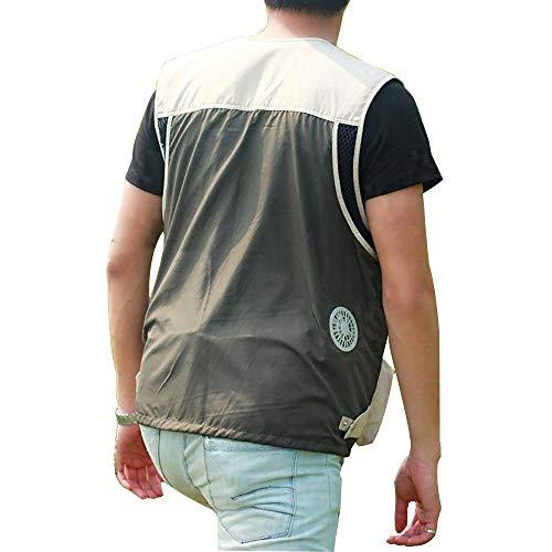 APENCHREN Kühlgebläse Jacke/Klimaanlage Kleidung, Arbeitskleidung, Multi-Pocket-Weste - für Hochtemperaturarbeiten im Freien Sommerfischen, Reisen, Camping und Fahrrad,Black-L