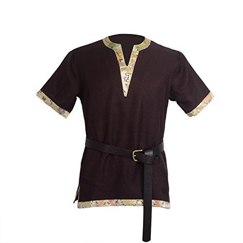 BLESSUME Mittelalterliche Wikinger-Tunika LARP Aristokrat Chevalier Ritter Krieger Cosplay Kostüm Viking Kostüm mit einem Ledergürtel (Braun, L)