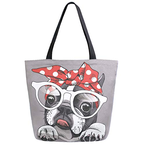 ZzWwR Cute French Bulldog Extra Large Canvas Shoulder Tote Top Handle Bag for Gym Beach Travel Shopping