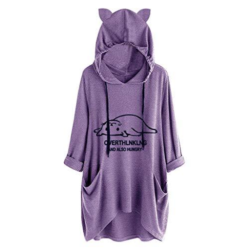 iHENGH Damen Frauen beiläufige liegende Katze druckte Lange Hülsen Katzen Ohr mit Kapuze Sweatshirt Taschen Oberseiten(Lila, L)