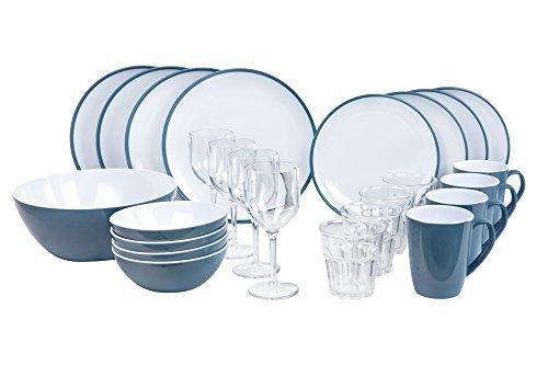 Melamingeschirr-Set 2TON Dusk Blue Campinggeschirr 4-Personen 25-teilig von Kampa inkl.großer Salatschüssel und 4X Weingläser 4X Wassergläser