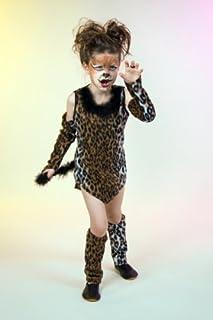Leoparden-Kostüm für Mädchen Verkleidung Wildkatze mit Body Rock Haarreifen 116