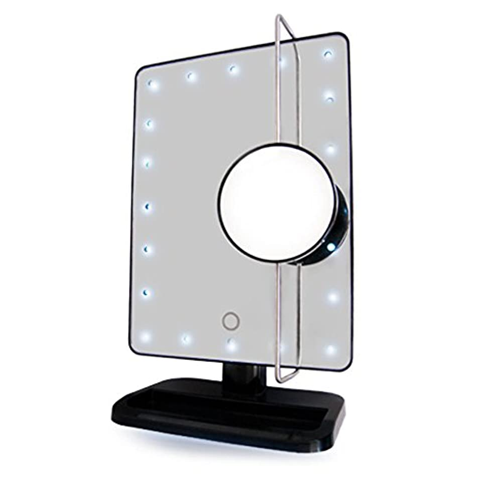 Rucci Vanity Mirror with L.E.D. Light and Movable Round Insert Mirror 10X Magnification. 8 inches Long by 13 inches Height Including Base. Round Insert Mirror 3 inches Diameter. Soft Touch Switch.