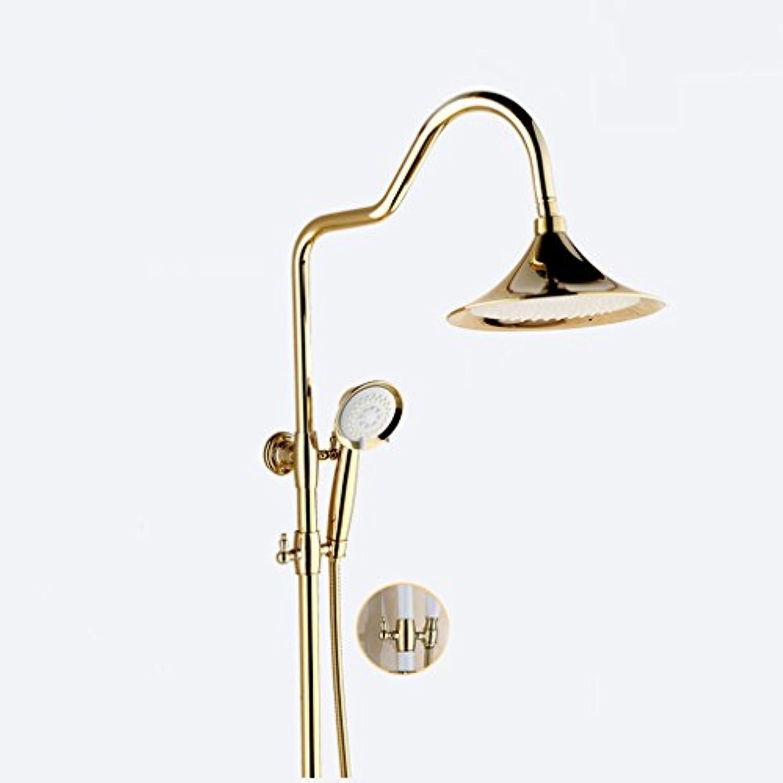 Goldene Dusche Set Bad Kupfer Dusche Wasserhahn Thermostatische Dusche Mit Einem Schlüssel Drei-speed Handbrause