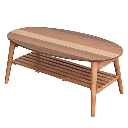 テーブル(オーバル) 880×475×355mm Tetra 折りたたみ 楕円 木製 ナチュラル 北欧風 完成品