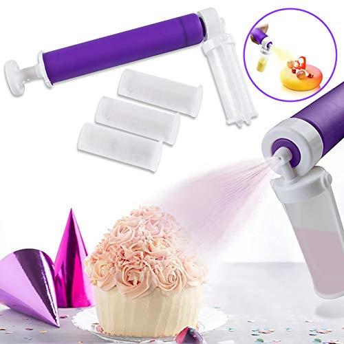 Seeyeah Adjustable Pressure Manual Airbrush for Cupcakes Desserts, Manual Spray Guns for Decorating Cakes, Cake Spray Tube Baking Tool (Purple)