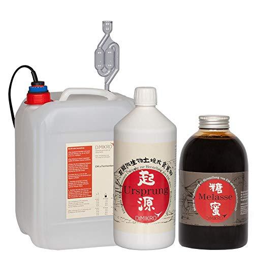 DIMIKRO Fermenter Einsteigerset - zur Herstellung von Effektiven Mikroorganismen aktiv (EMa) - Komplett-Set mit Fermenter, Urlösung, Melasse, pH-Streifen und Anleitung (5 Liter)