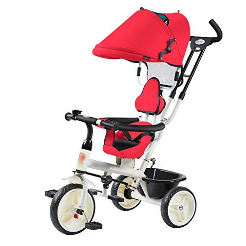BLWX - Tricycle léger pour Enfants 1-3 Ans bébé Poussette de vélo bébé Poussette de vélo léger Wagon Poussette (Couleur : Red)