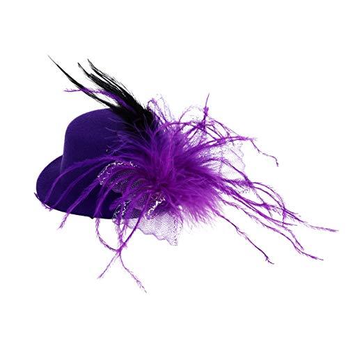 Amosfun Zylinder Haarspange Feder Spitze Blume Kleine Hut Karneval Haarschmuck Fascinator Ball Bankett Party Kostüm Requisiten (Lila)
