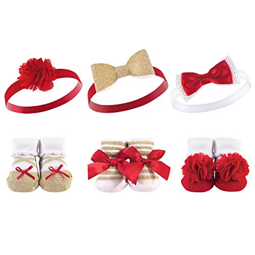 Hudson Baby Unisex Baby Headband and Socks Gift set, Red Gold, One Size